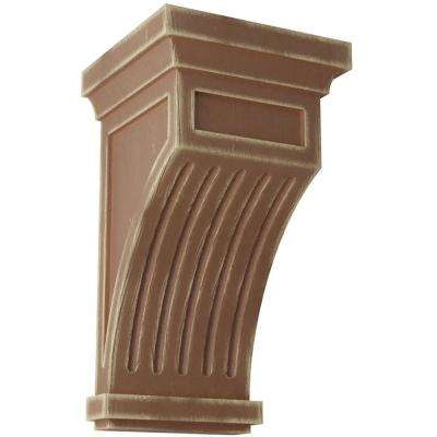 5-1/2 in. x 10 in. x 5-1/2 in. Weathered Brown Fluted Wood Vintage Decor Corbel