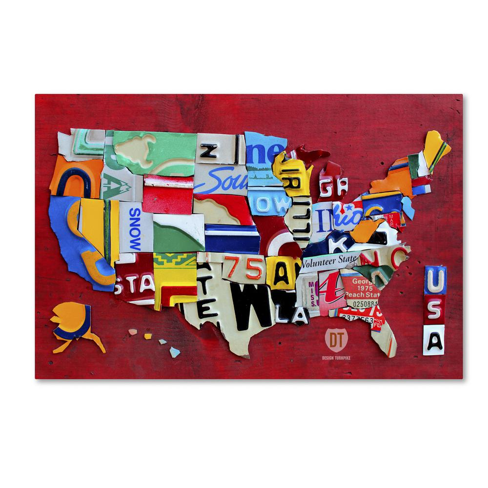 License Plate State Map.Trademark Fine Art 30 In X 47 In License Plate Map Miniature By