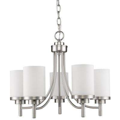 Vitoria 5-Lights Satin Nickel Chandelier with Opal Frosted Glass Shade