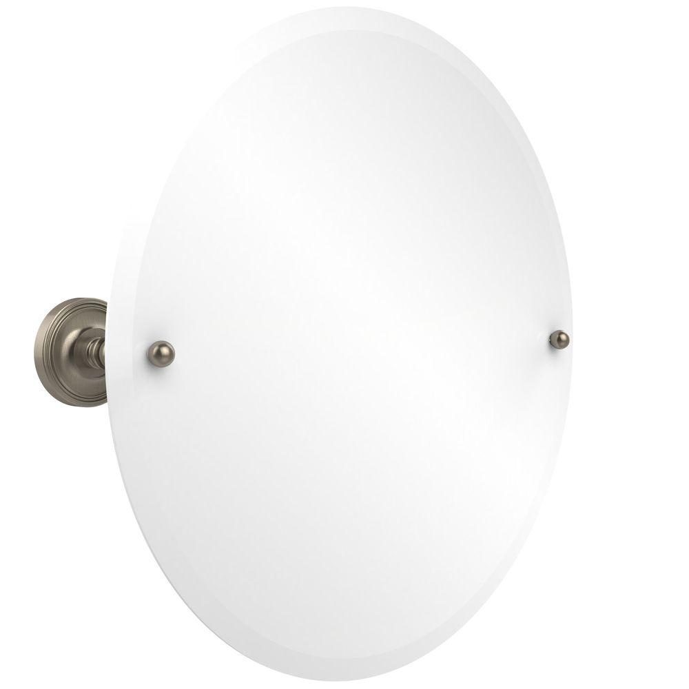 Allied Brass Prestige Regal Collection 22 in. x 22 in. Frameless Round Single Tilt Mirror with Beveled Edge in Antique Pewter