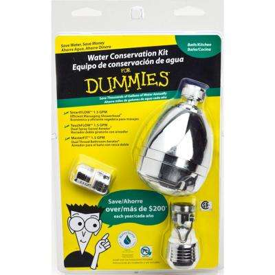 2.75 in. Water Conservation Kit 3-Spray Pattern Showerhead, Dual Spray Swivel Kitchen and 2 Dual Thread Bath Aerators