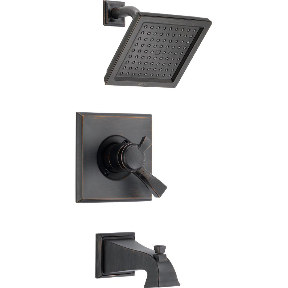 Delta Dryden 1 Handle Tub And Shower Faucet Trim Kit In Venetian Bronze Valve Not Included