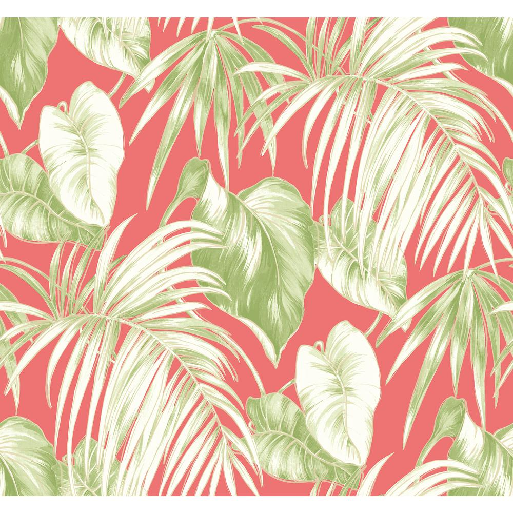 Seabrook Designs Dominica Pink And Green Tropical Leaf Wallpaper