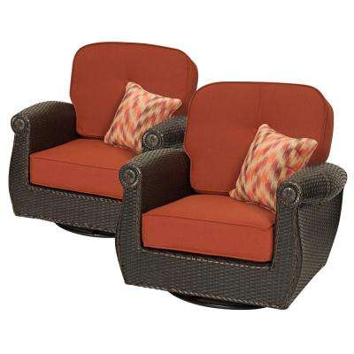 Breckenridge Swivel Wicker Outdoor Lounge Chair With Sunbrella Meredian  Brick Cushion (2 Pack)