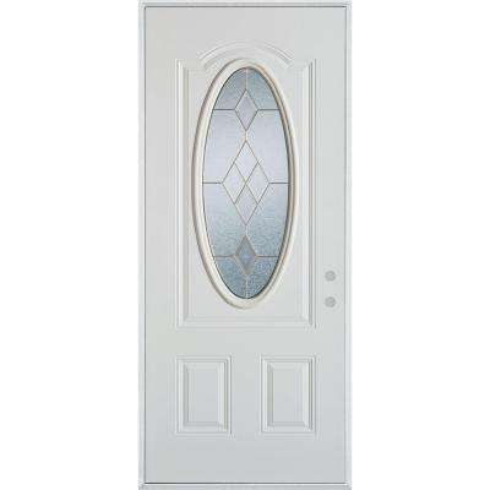36 in. x 80 in. Geometric Brass 3/4 Oval Lite 2-PanelPainted White Left-Hand Inswing Steel Prehung Front Door