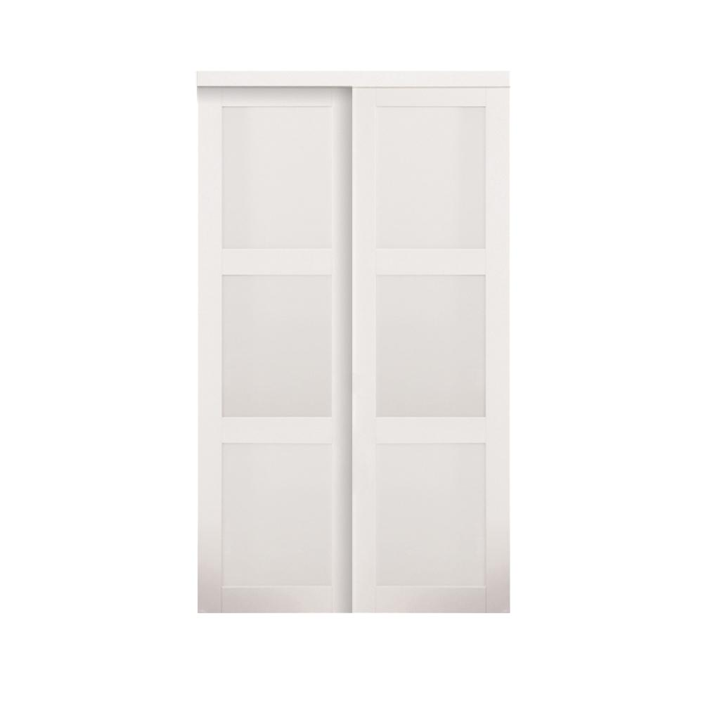 TRUporte 60 in. x 80 in. 2030 Series White 3-Lite Tempered Frosted Glass Composite Sliding Door