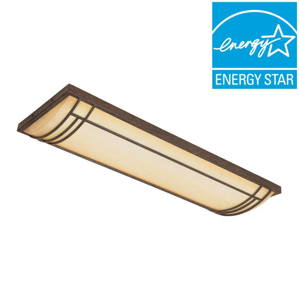 Designers Fountain Solano Collection 4-Light Warm Mahogany Fluorescent Ceiling Flushmount