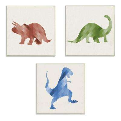"12 in. x 12 in. ""Red Green Blue Dinosaurs"" by Daphne Polselli Printed Wood Wall Art"