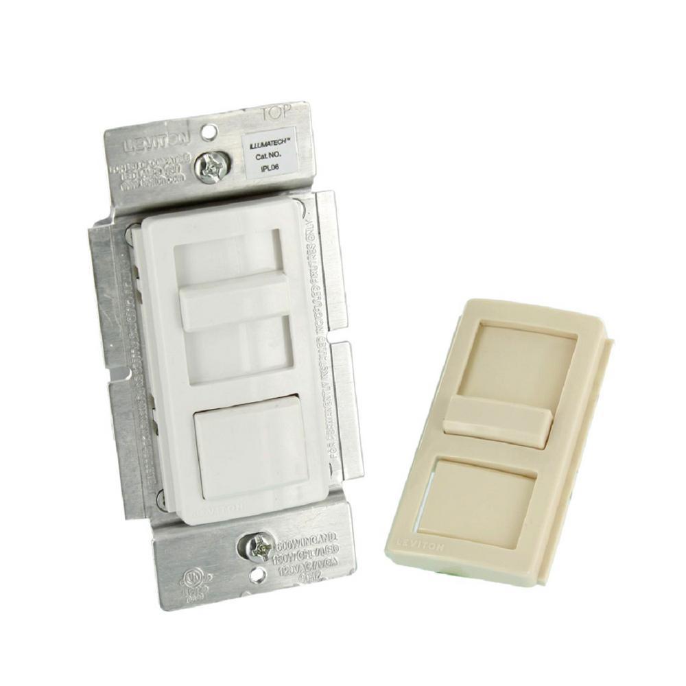 illumatech slide dimmer for 150-watt dimmable led/cfl, 600-watt  incandescent/halogen, white w/ color change kit included