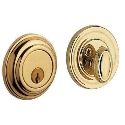 Traditional Single Cylinder Lifetime Polished Brass Deadbolt
