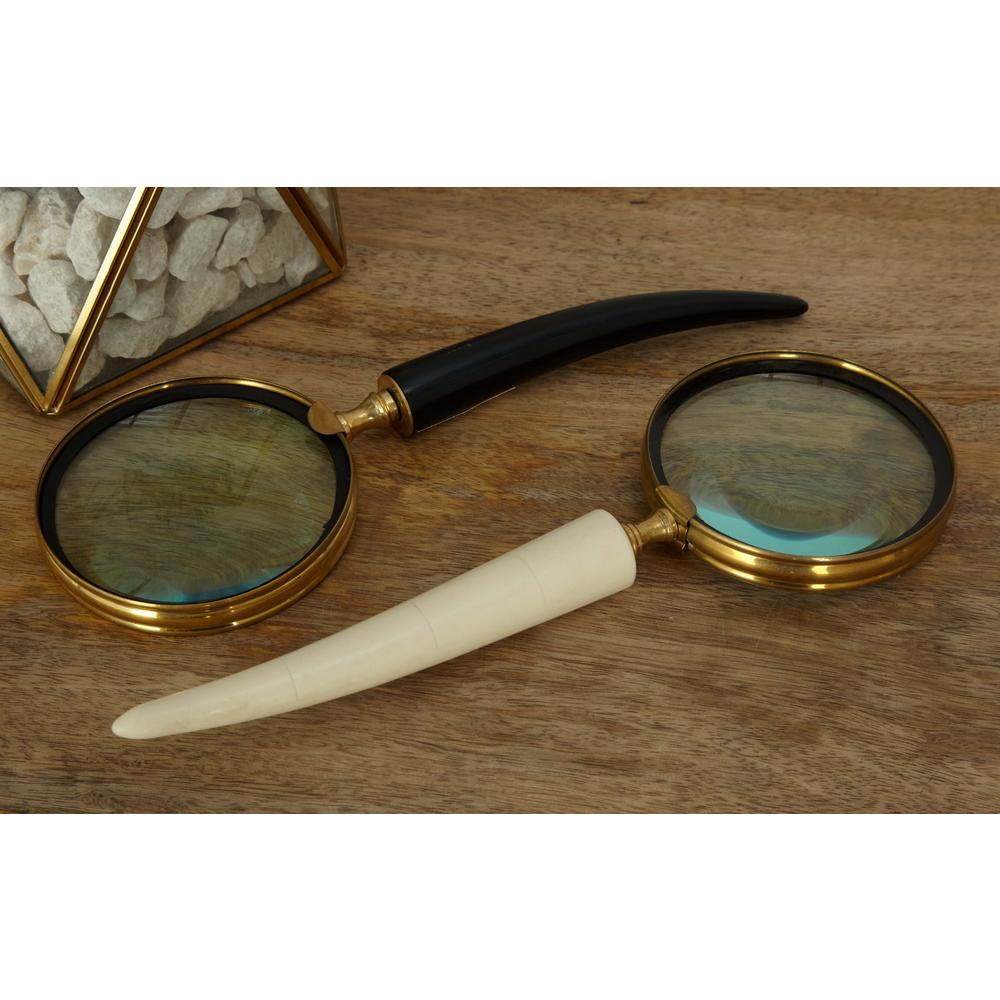 Null 15 In 13 In And 9 In Metal And Glass Horn Magnifying Glass 3 Pack