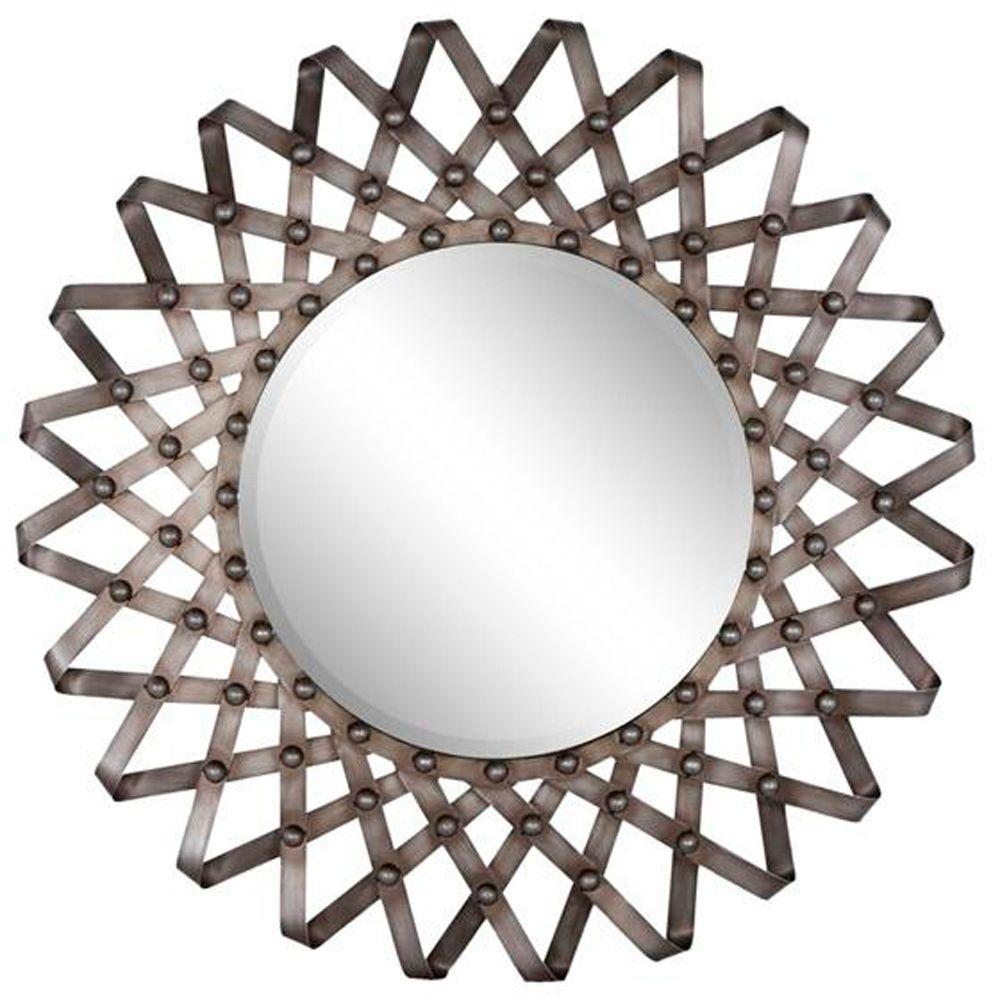 Home Decorators Collection Fissare 33 in. H x 33 in. W Round Framed Wall Mirror in Silver