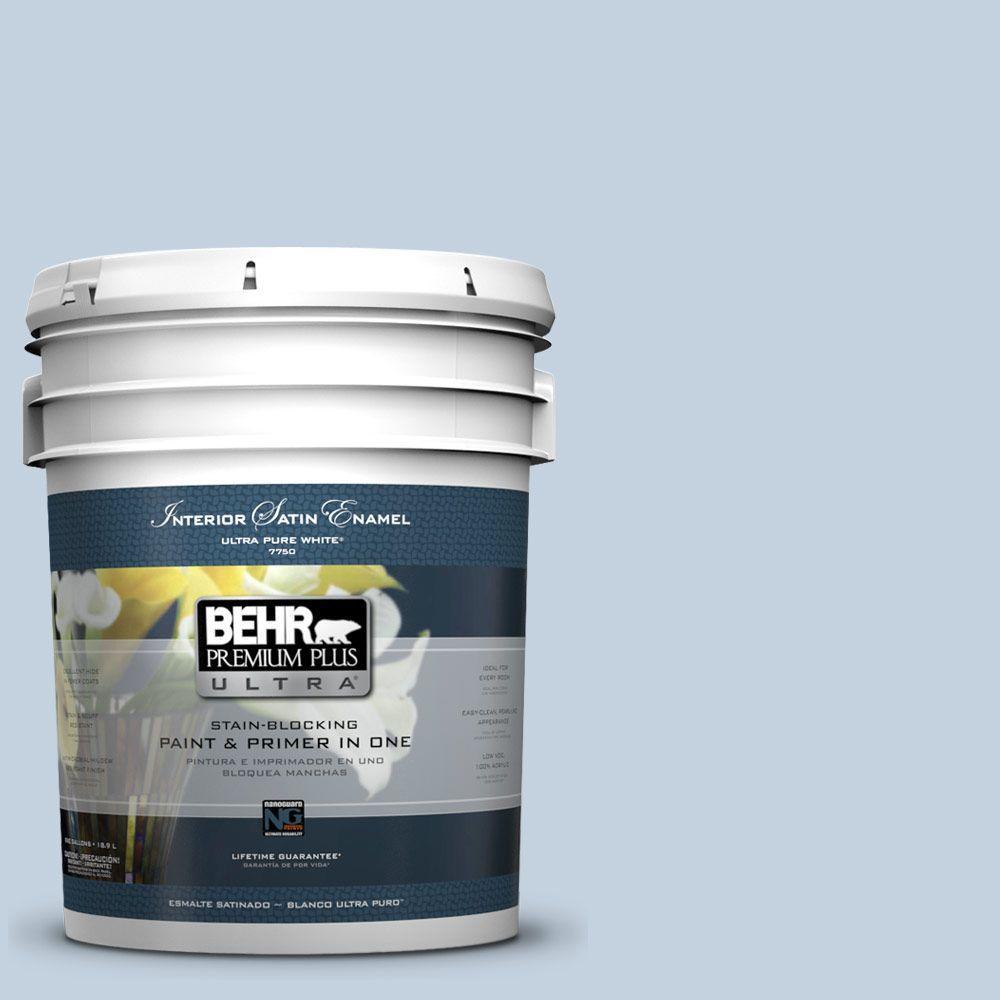BEHR Premium Plus Ultra 5-gal. #570E-2 Velvet Sky Satin Enamel Interior Paint