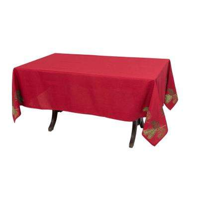 0.1 in. H x 70 in. W x 108 in. D Christmas Pine Tree Branches Embroidered Tablecloth
