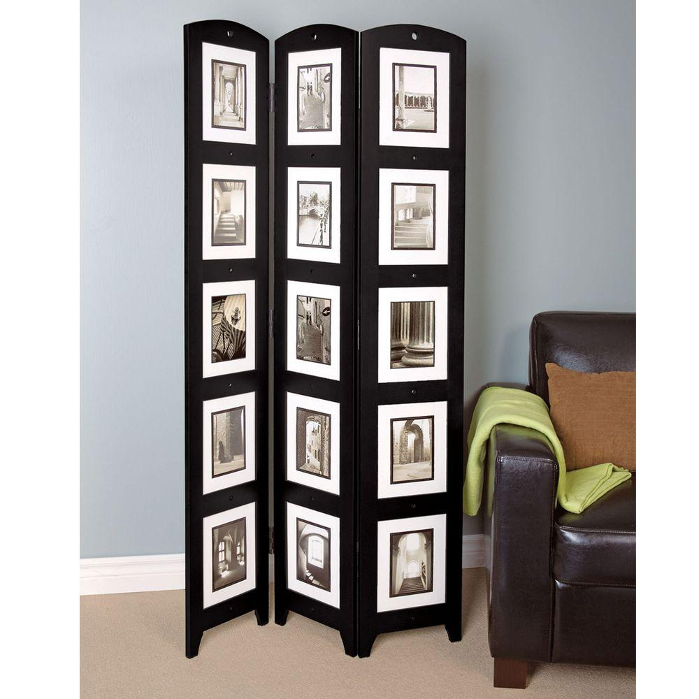5.4 ft. Black 3-Panel Room Divider