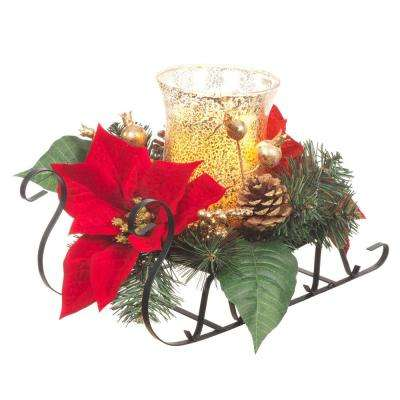 8.5 in. H Metal Sleigh with Poinsettias and LED Timer Candle in Glass Hurricane