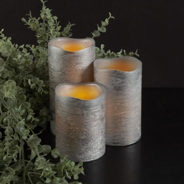 Lavish Home Distressed Metallic Silver Flameless Real Wax LED Candles with Remote (Set of 3)