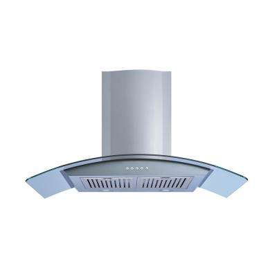 36 in. Wall Mount Convertible Range Hood in Stainless Steel and Glass with Illuminated Push Button and Baffle Filters