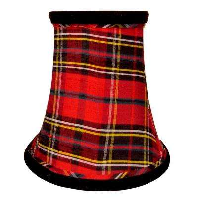 Stretch Bell Plaid Dupione Silk Chandelier Shade with Black Velvet Trim