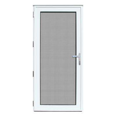 32 in. x 80 in. White Recessed Mount Left-Hand Meshtec Ultimate Storm Door with Glass