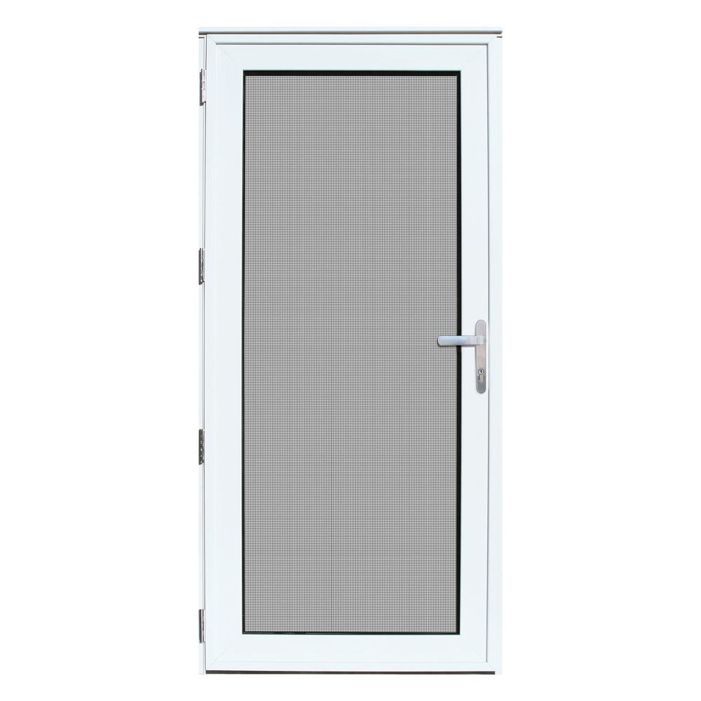 Unique home designs 36 in x 80 in white recessed mount for Patio storm doors home depot