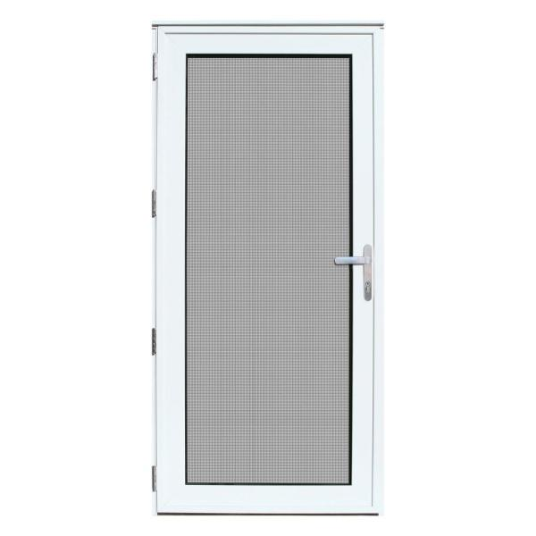 36 in. x 80 in. White Recessed Mount Left-Hand Meshtec Security Door with Tempered Glass Insert