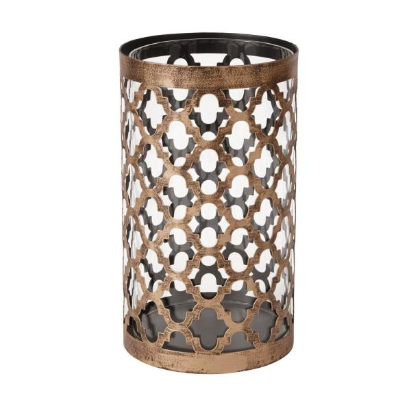 Hampton Bay 9 65 In Brown Metal And Glass Outdoor Patio Candle Holder Hd19028l The Home Depot