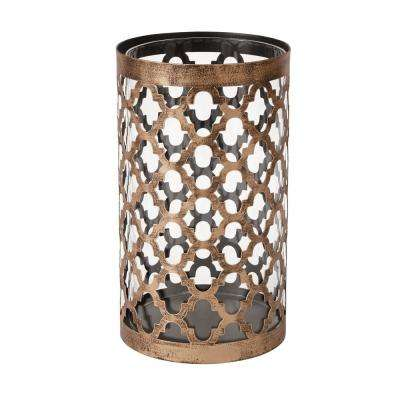 9.65 in. Metal and Glass Candle Holder