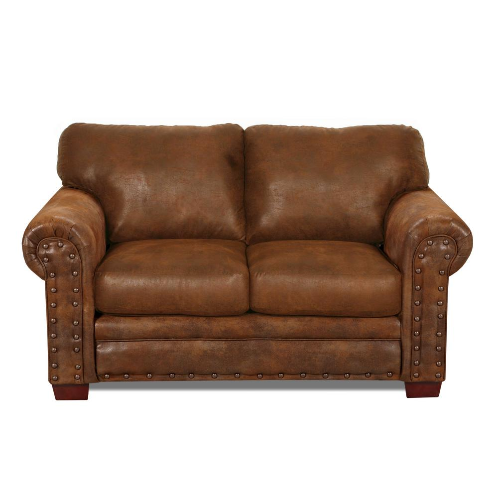 Buckskin 67 in. brown Microfiber 2-Seater Loveseat with Removable Cushions