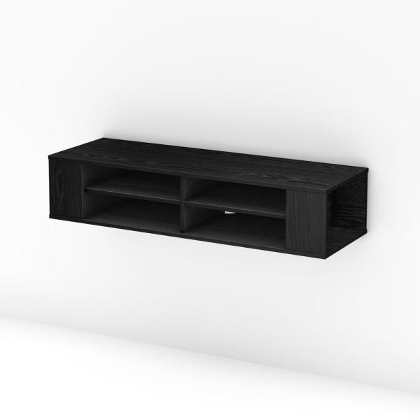 City Life 50-Disk Capacity Wall Mounted Media Console in Black Oak