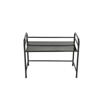 Microwave Shelf Counter Unit with Hooks in Black