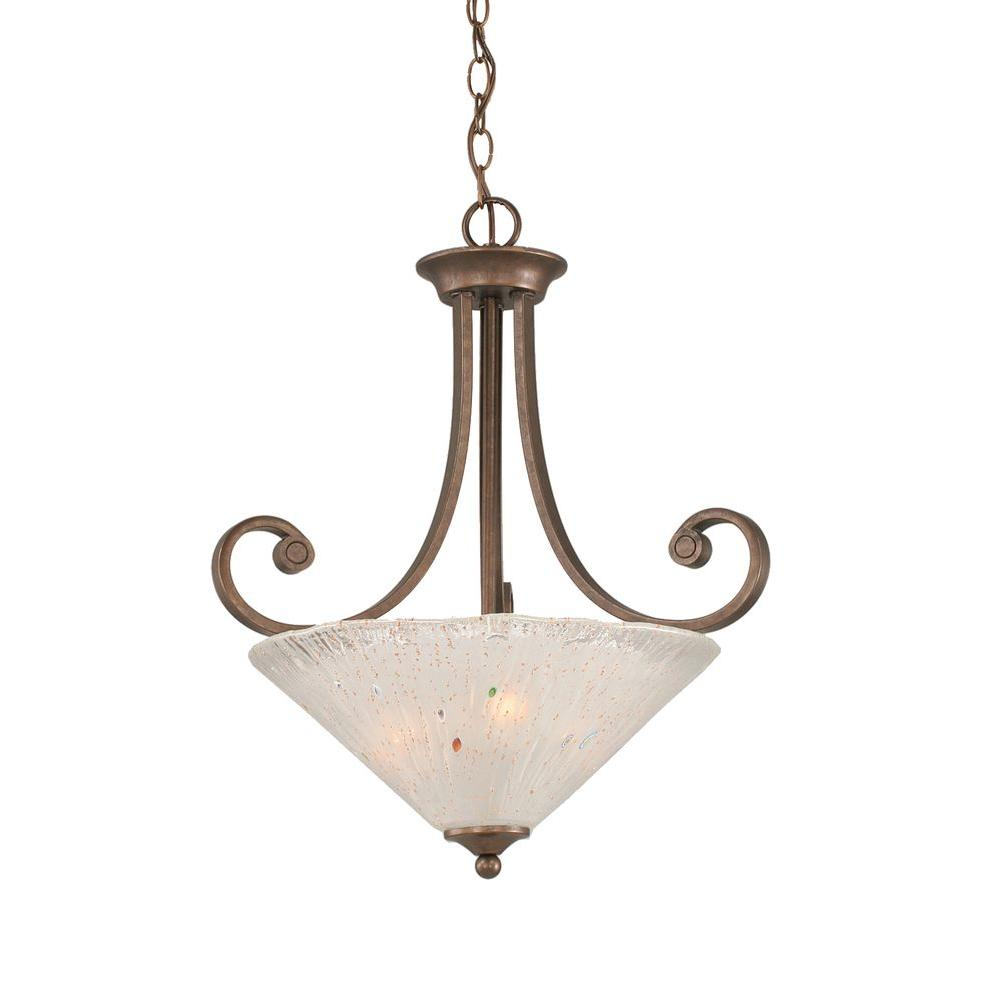 3-Light Bronze Pendant with Frosted Crystal Glass