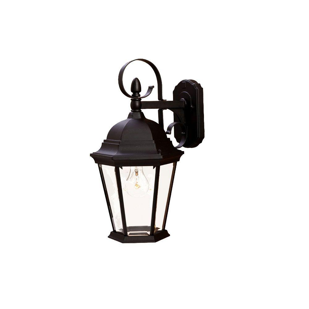 New Orleans Collection 1-Light Matte Black Outdoor Wall Lantern Sconce