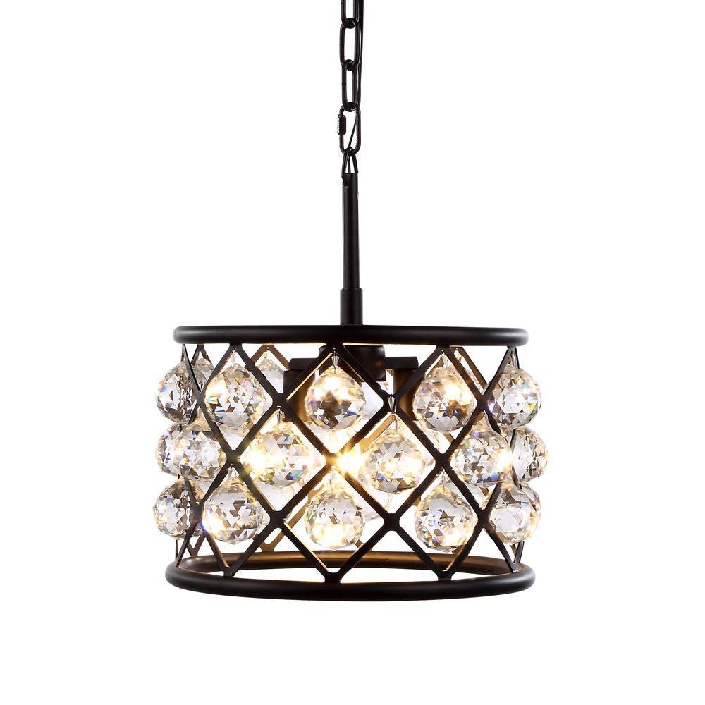 Madison 3-Light Mocha Brown Royal Cut Crystal Clear Pendant