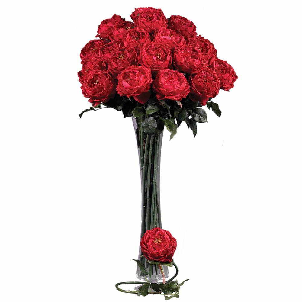 null 31 in. H Red Large Rose Stem (Set of 12)