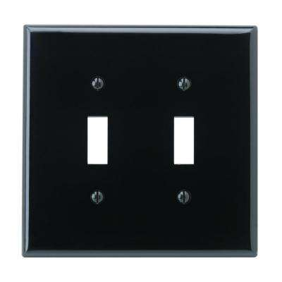 2-Gang Midway Toggle Nylon Wall Plate, Black
