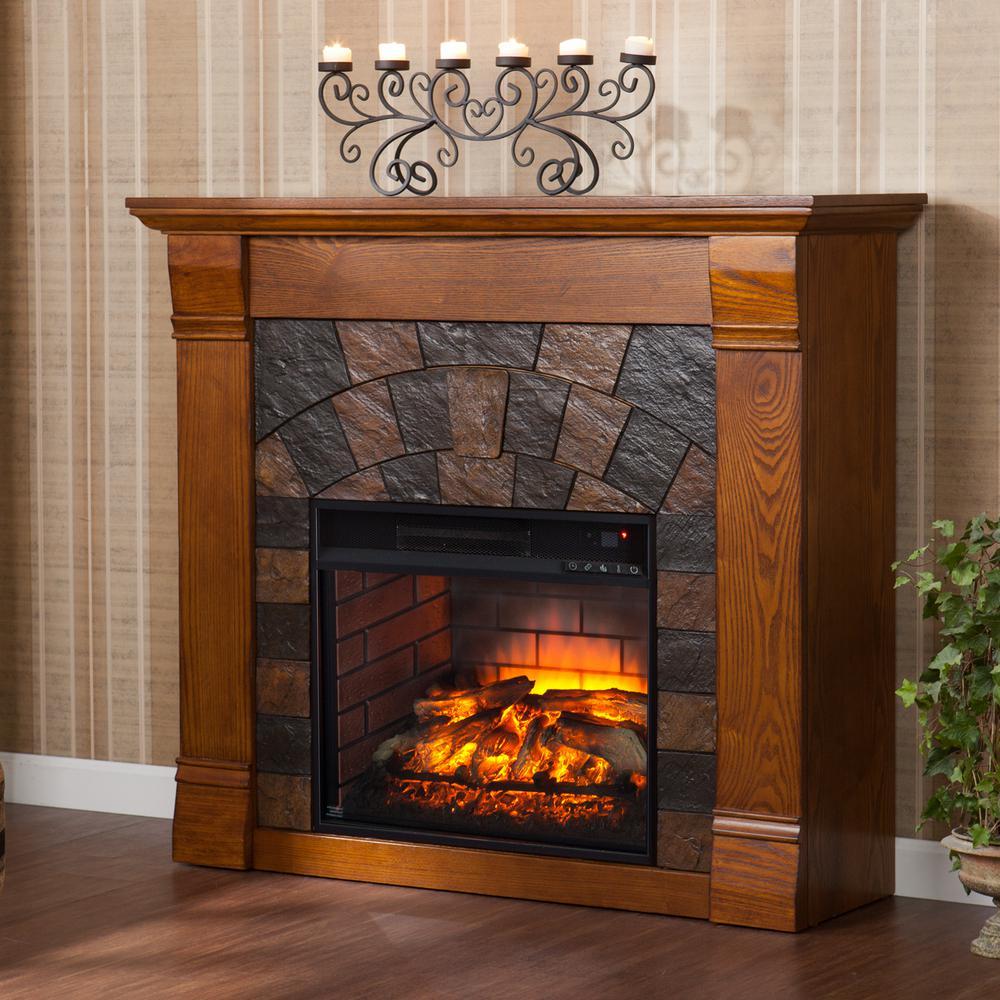 Jamestown 45.5 in. W Faux Stone Infrared Electric Fireplace in Salem Antique Oak