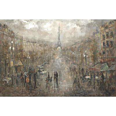 24 in. H x 48 in. W Paris Landscape Canvas Print Unframed Canvas Wall Art