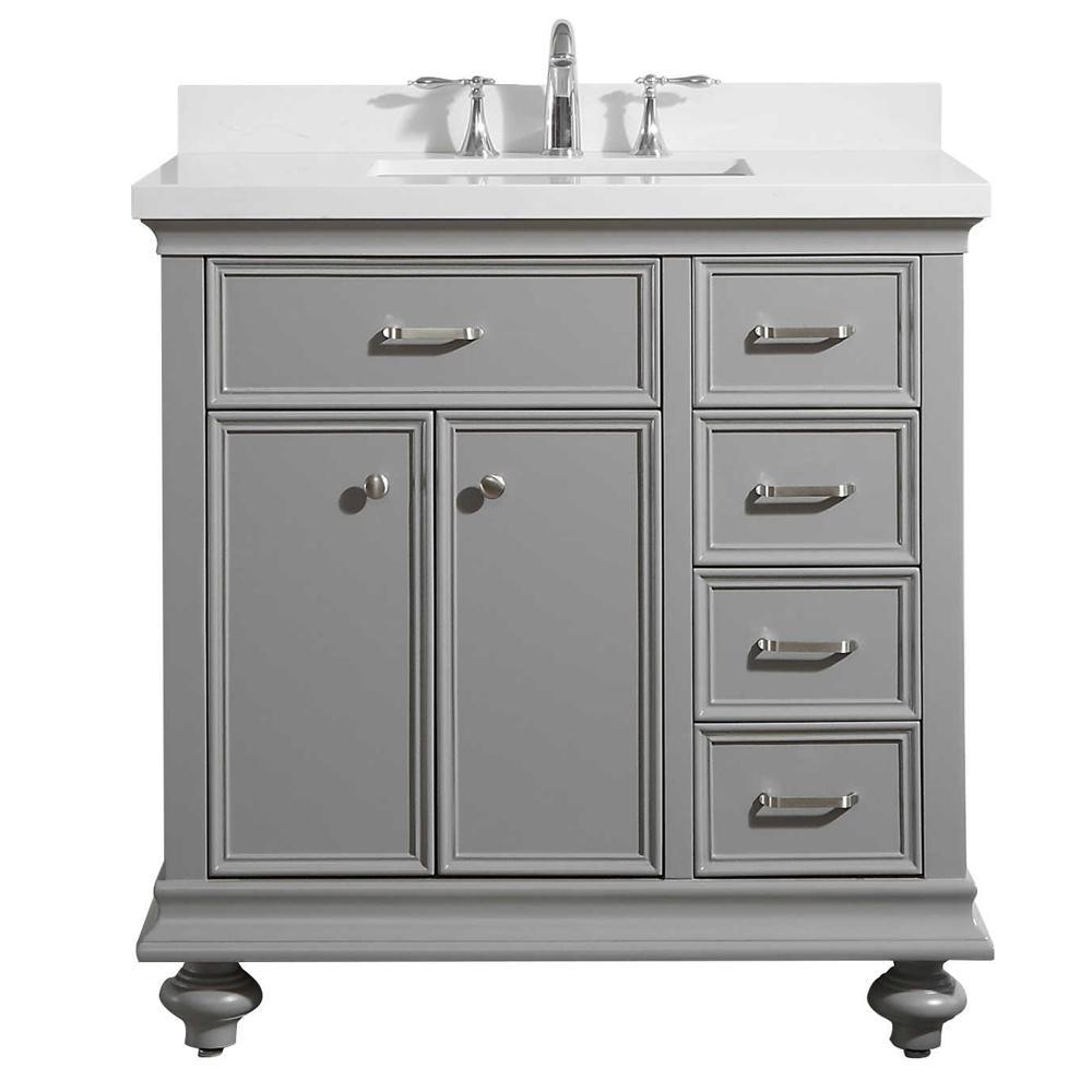 Charlotte 36 in. W x 22 in. D x 36 in. H Vanity in Grey with Quartz Vanity Top in White with White Basin