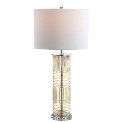 Genevieve 30 in. Champagne Glass/Crystal LED Table Lamp