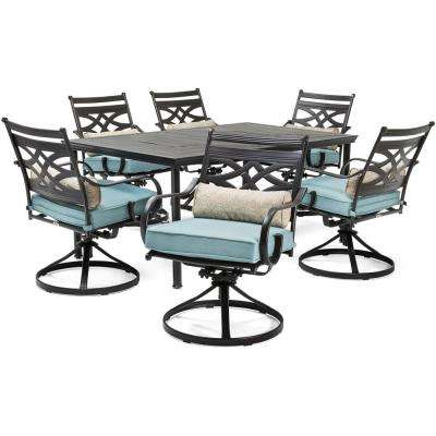 Montclair 7-Piece Steel Outdoor Dining Set with Ocean Blue Cushions Swivel Rockers and Dining Table