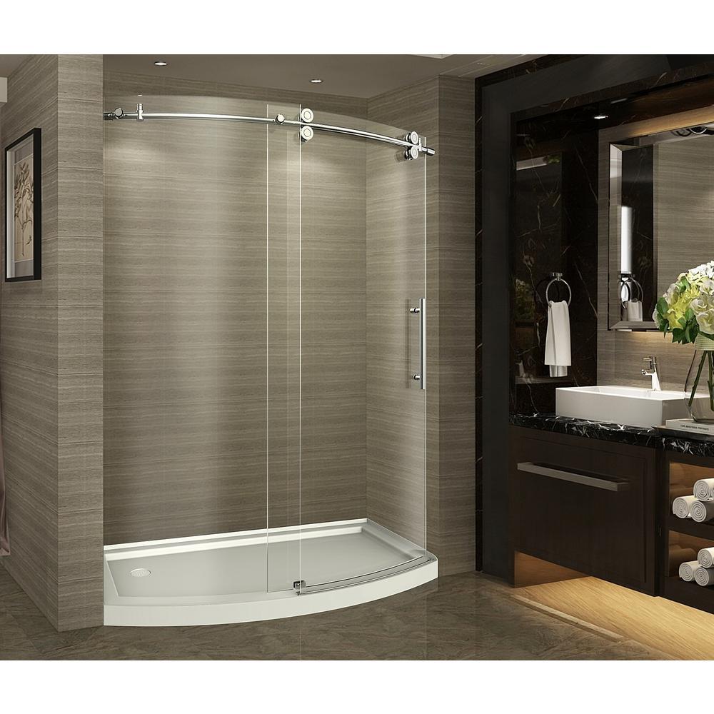 Completely Frameless Bowfront Sliding Shower Door In Stainless