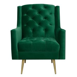 Reese Emerald Button Tufted Accent Chair with Gold Legs