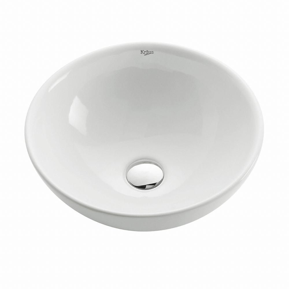 Kraus Soft Round Ceramic Vessel Bathroom Sink In White Kcv 141 The Home Depot
