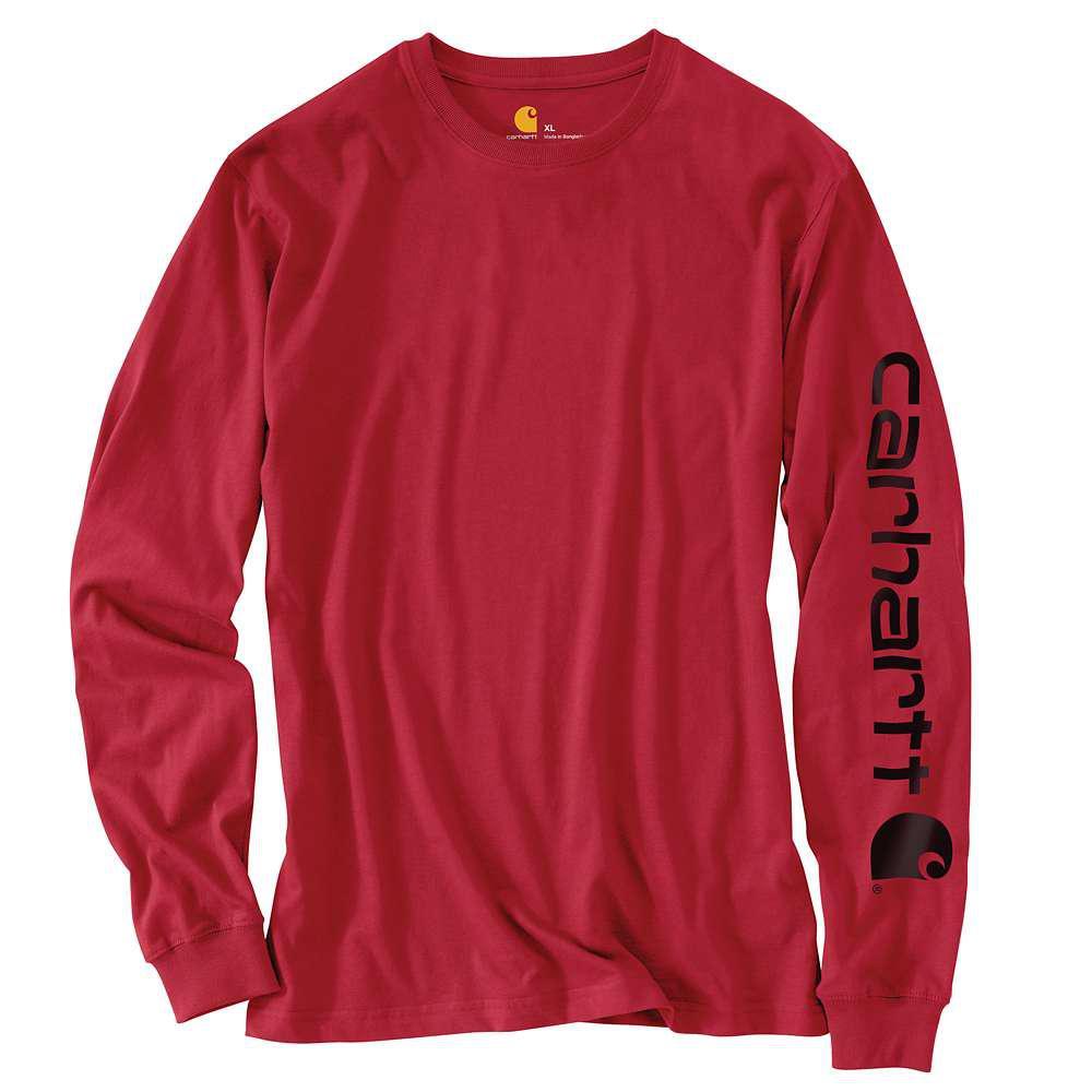 Men's Regular Small Red Cotton Long-Sleeve T-Shirt