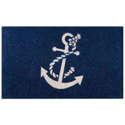 Anchor Blue 39 in. x 24 in. Coir Door Mat