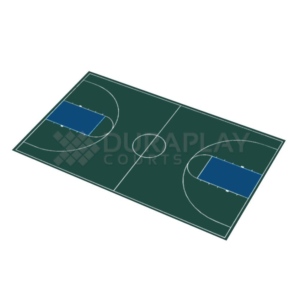 DuraPlay 50 ft. 6 in.  x 83 ft. 11 in. Hunter Green and Navy Blue Full Court Basketball Kit
