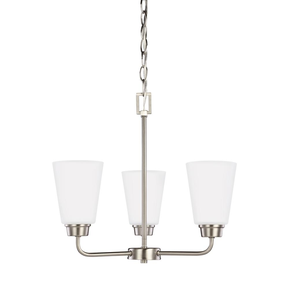 Kerrville 3-Light Brushed Nickel Chandelier with LED Bulbs