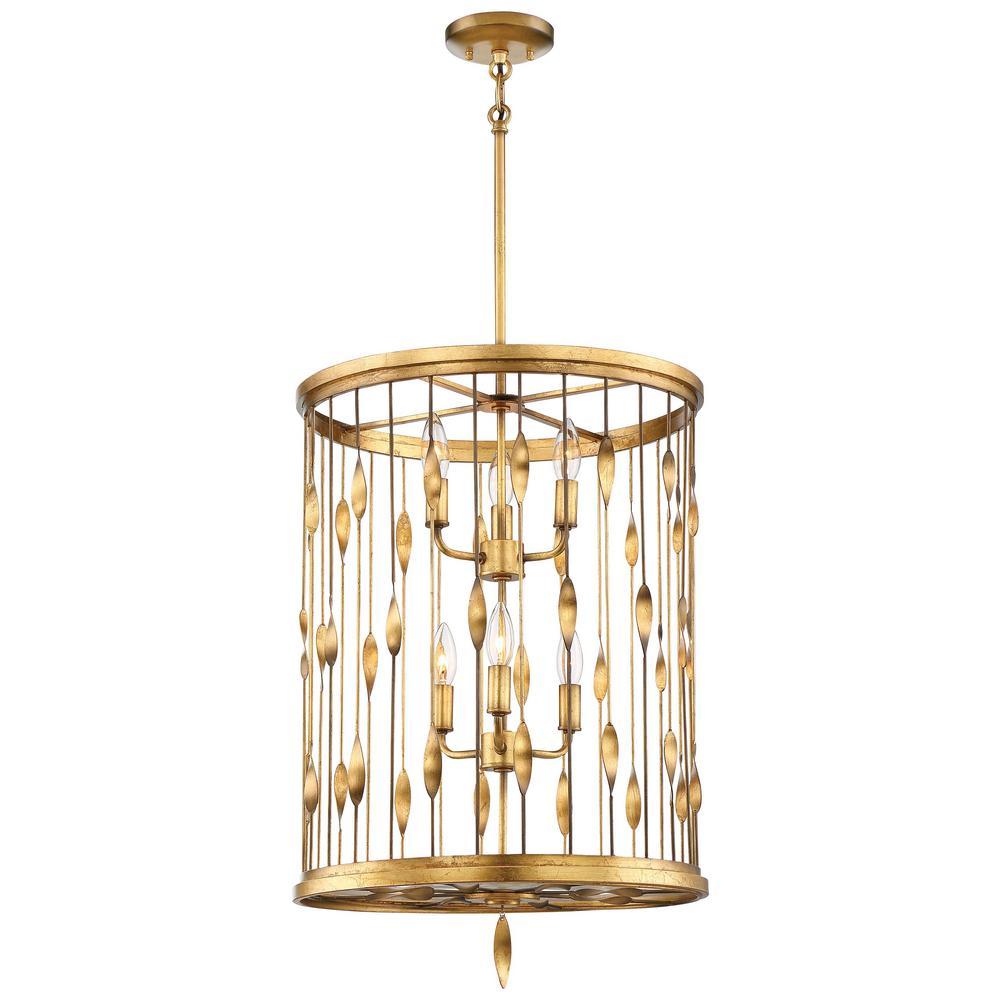 Olivetas 6-Light Il Terrace Gold Leaf Pendant