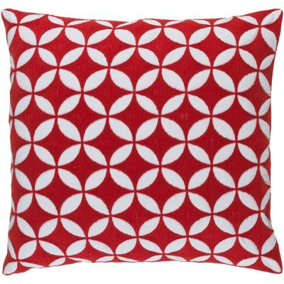 Bulstrode Red Geometric Polyester 22 in. x 22 in. Throw Pillow